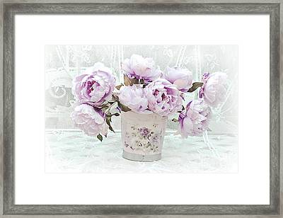 Romantic Lavender Shabby Chic Peonies - Lavender Pink Peonies Framed Print by Kathy Fornal