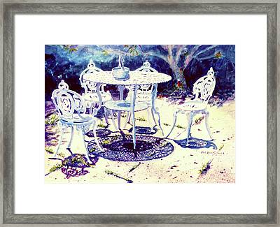 Romantic White Garden Framed Print by Estela Robles