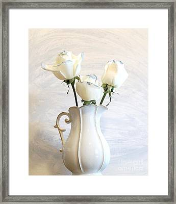 Romantic White Roses Framed Print