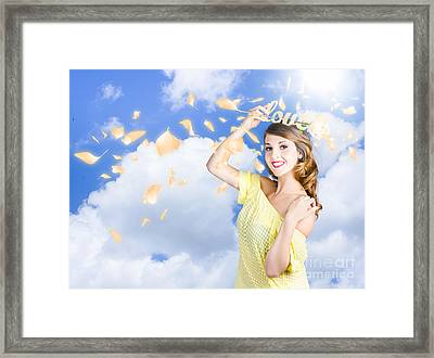 Romantic Woman Dreaming Of A Sky Filled Romance Framed Print