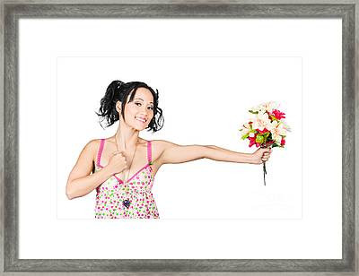 Romantic Woman Giving Flower Bouquet. Thank You Framed Print