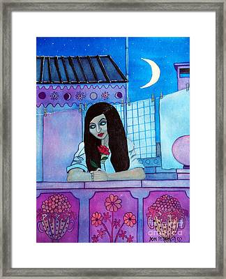 Romantic Woman In The Terrace At Night Framed Print by Don Pedro De Gracia