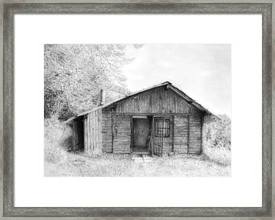 Romantic Wooden Cabin In Mountain Landscape Beautiful Detailed Monochromatic Pencil Drawing Framed Print