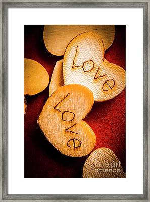 Romantic Wooden Hearts Framed Print by Jorgo Photography - Wall Art Gallery