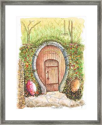 Rombauer Vineyard Entrance Door, California Framed Print by Carlos G Groppa
