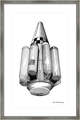 Framed Print featuring the drawing Rombus Heavey Lift Reusable Rocket by Jack Pumphrey