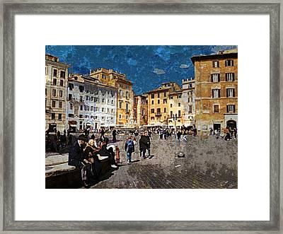 Rome - Piazza Della Rotunda Framed Print by Jen White