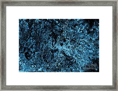 Rome Abstract City Map Top View Dark Framed Print