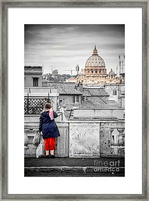 Rome Canvas Dramatic Black And White Selective Color  Stamps Framed Print by Luca Lorenzelli