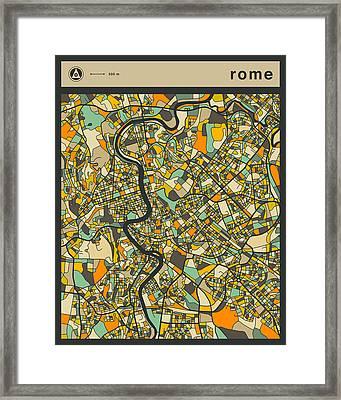 Rome City Map Framed Print