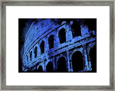Rome - Colosseum In Blue Framed Print