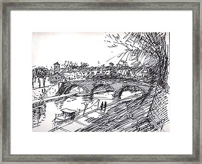Bridge At Isola Tiberina Rome Sketch Framed Print by Ylli Haruni