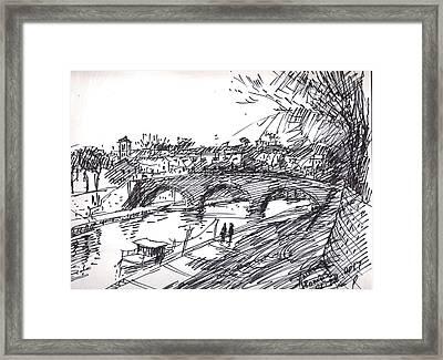 Bridge At Isola Tiberina Rome Sketch Framed Print