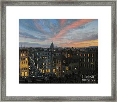 Rome In The Light Of Sunset Framed Print by Kiril Stanchev