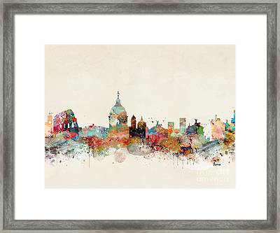 Framed Print featuring the painting Rome Italy Skyline by Bri B