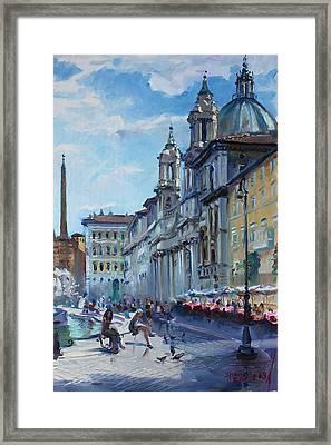 Rome Piazza Navona Framed Print by Ylli Haruni