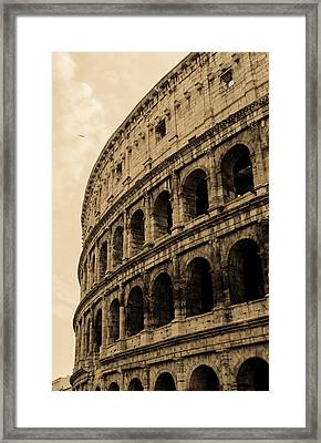 Rome - The Colosseum In Sepia Tones Framed Print