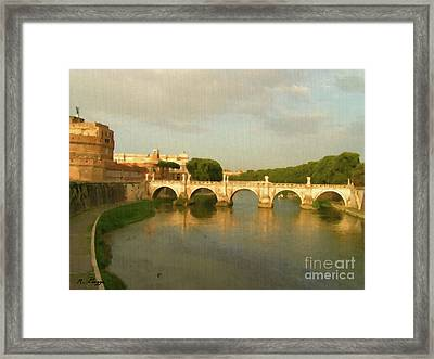 Rome The Eternal City And Tiber River Framed Print