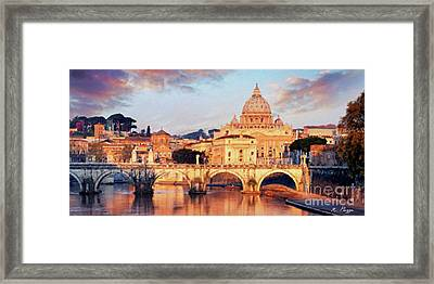 Rome The Eternal City - Saint Peter From The Tiber Framed Print