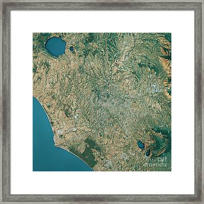 Rome Topographic Map Natural Color Top View Framed Print by Frank Ramspott