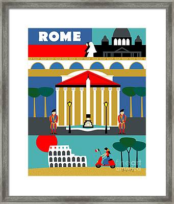 Rome Vertical Scene - Collage Framed Print