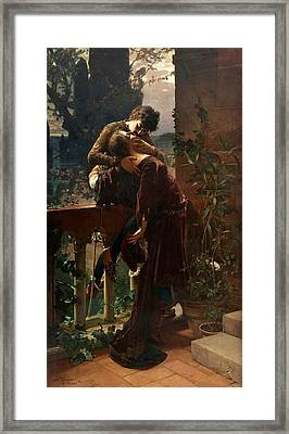 Romeo And Juliet On The Balcony Framed Print