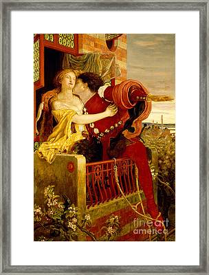 Romeo And Juliet Parting On The Balcony Framed Print