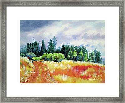 Framed Print featuring the painting Romp On The Hill by Kathy Braud