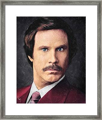 Ron Burgundy Framed Print by Taylan Apukovska