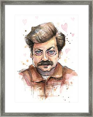 Ron Swanson Funny Love Portrait Framed Print