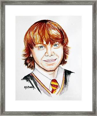 Ron Weasley Framed Print by Maria Barry