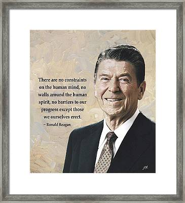 Ronald Reagan And Quote Framed Print by Linda Mears