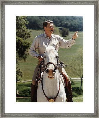 Ronald Reagan On Horseback  Framed Print