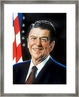 Ronald Reagan Portrait Framed Print by Robert Korhonen