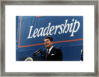 Ronald Reagan. President Reagan Giving Framed Print