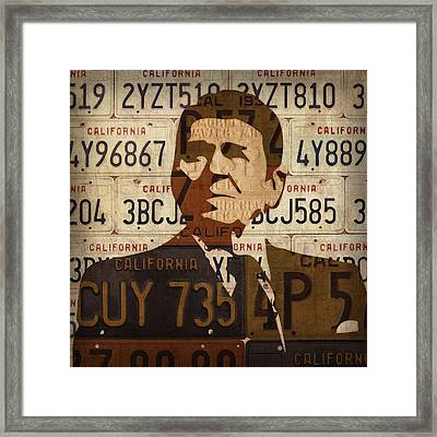 Ronald Reagan Presidential Portrait Made Using Vintage California License Plates Framed Print by Design Turnpike