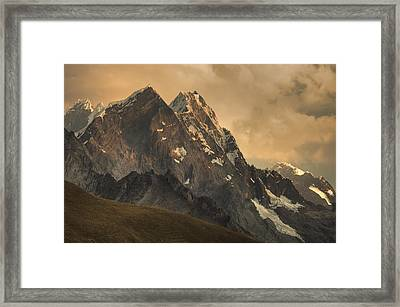 Rondoy Peak 5870m At Sunset Framed Print by Colin Monteath