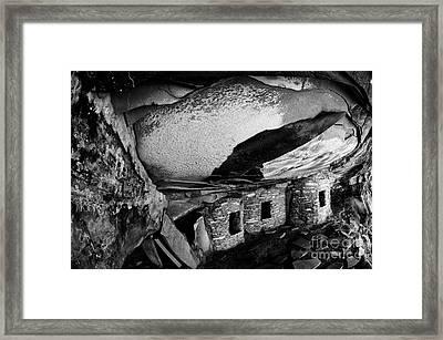 Roof Falling In Ruin Utah Monochrome Framed Print by Bob Christopher