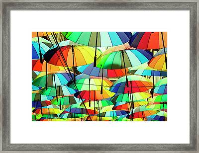 Roof Made From Colorful Umbrellas Framed Print