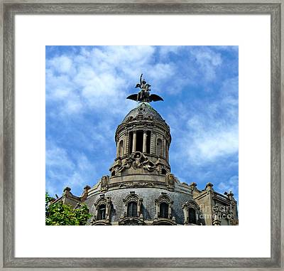 Roof Top Statue Framed Print