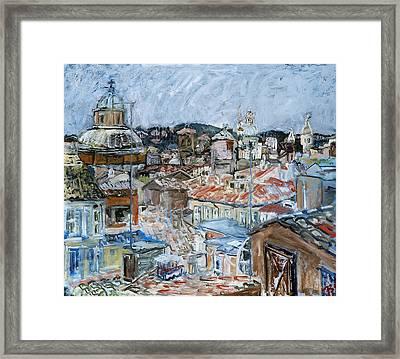 Roofs Of Rome Framed Print by Joan De Bot