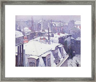 Roofs Under Snow Framed Print by Gustave Caillebotte