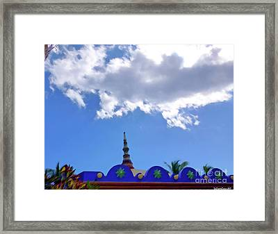Framed Print featuring the digital art Rooftop And Sky by Francesca Mackenney