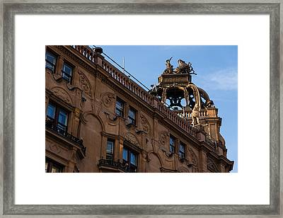 Rooftop Chariots And Horses - The Hippodrome Casino Leicester Square London U K Framed Print by Georgia Mizuleva