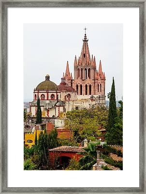 Framed Print featuring the photograph Rooftop View Of La Parroquia De San Miguel Arcangel by Rob Huntley