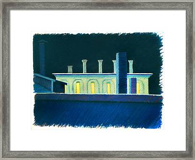 Roof Tops At Night Framed Print