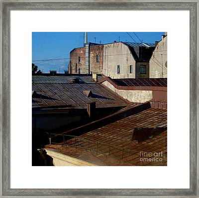 Framed Print featuring the photograph Rooftops From The Sauna by Robert D McBain