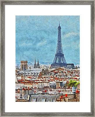 Rooftops In Paris And The Eiffel Tower Framed Print