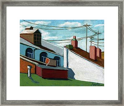 Framed Print featuring the painting Rooftops by Linda Apple