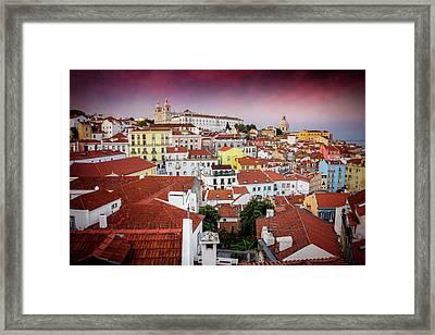 Rooftops Of Alfama Lisbon  Framed Print by Carol Japp